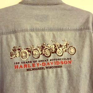Harley Davidson Denim Button Down Long Sleeve Men